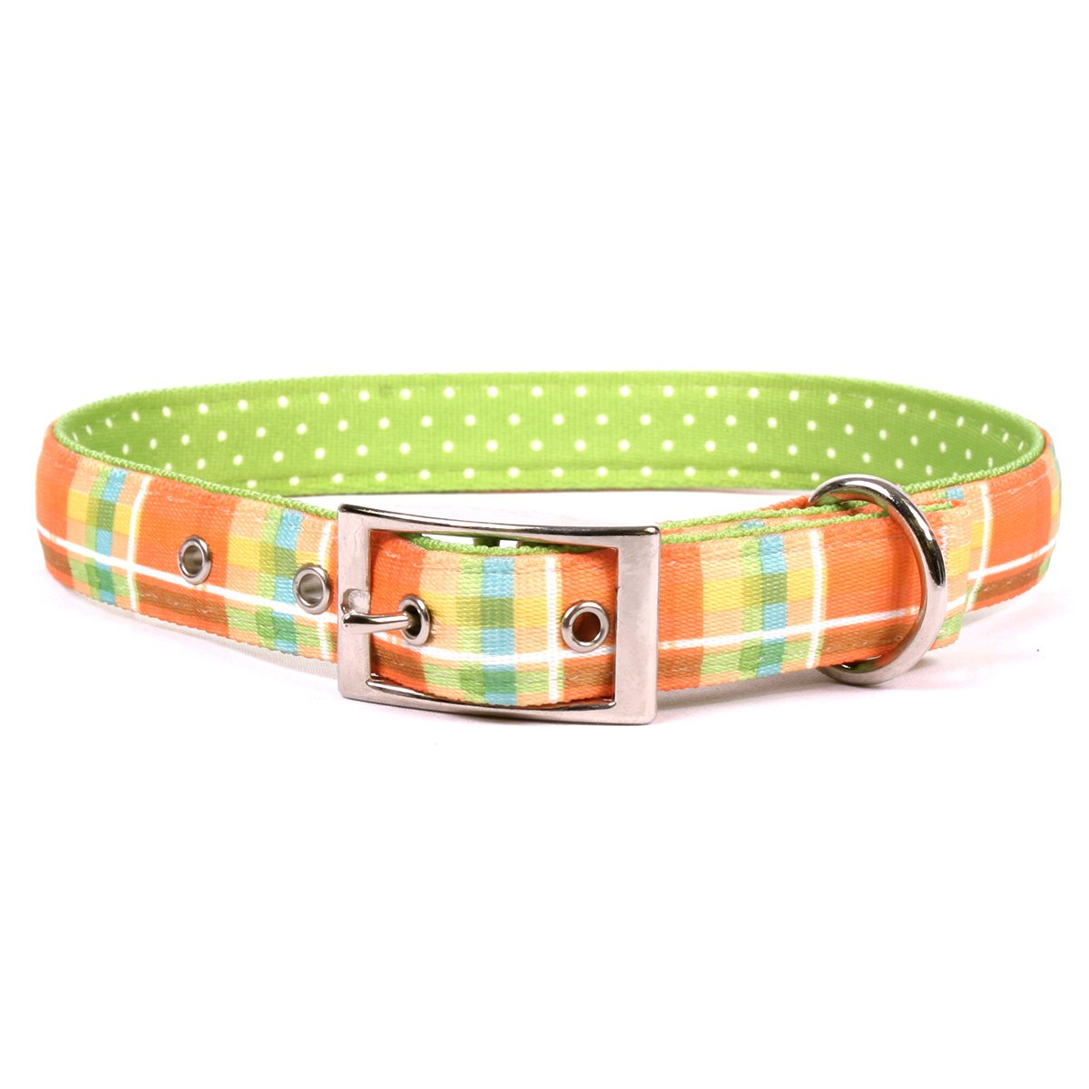 Medium 19\ Yellow Dog Design Madras orange Uptown Dog Collar, Medium-1  wide and fits neck sizes 15 to 18.5