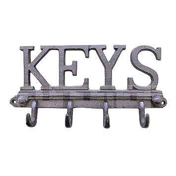 Sungmor - Percha de hierro fundido con 4 ganchos, gancho de papel, porta llaves