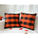 4TH Emotion Set of 2 Fall Halloween Buffalo Check Plaid Throw Pillow Covers with Pompoms Cushion Case Cotton Linen for…