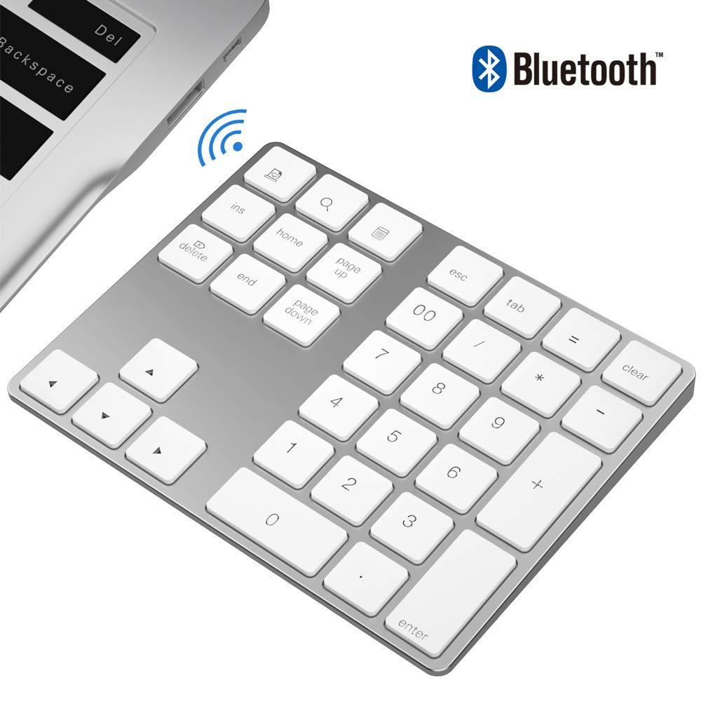 JOYEKY 34-Key Wireless Number Pad Aluminum Wireless Accounting Numeric Keypad Compatible for iMac, MacBook Air, MacBook Pro, MacBook, and Mac Mini (34 Keys White)