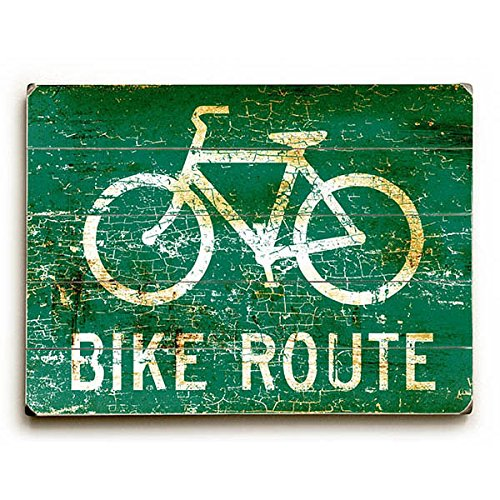 Bike Route by Artist Peter Horjus - distressed wood canvas art