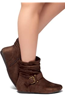 24f21cc607cd9f Herstyle SHEARLLY Faux Suede Buckled Up Side Zipper Slouch Ankle Booties  Flat Heel Calf Boots(