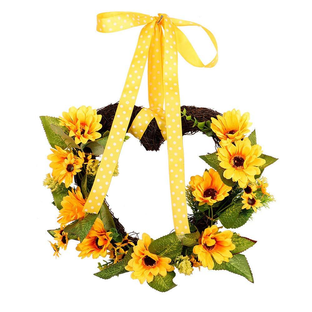 iumei 30×40cm Heart-Shaped Ribbon Sunflower Christmas Wreath Garland Door Wall Garland Decoration,Thanksgiving Gifts
