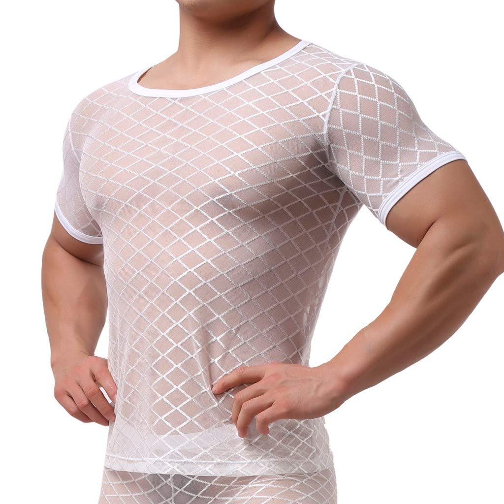 Men's Mesh Nightwear One Piece Jockstrap Bodysuit Leotard Short Sleeves Mesh Underwear (M, White)