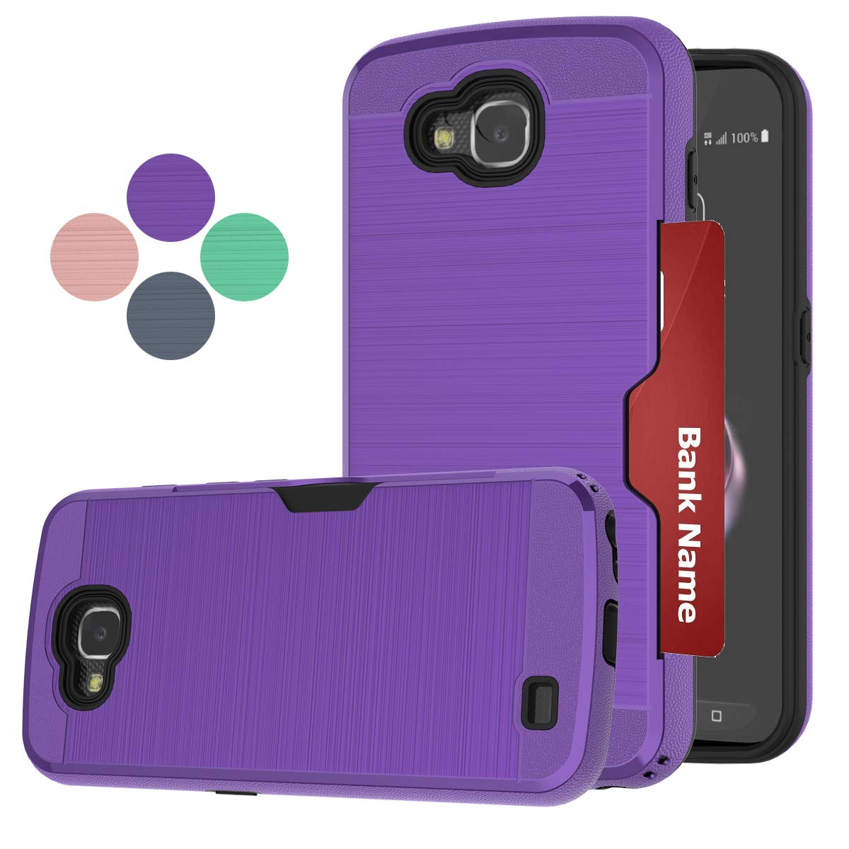 LDStars LG X Venture Phone Case,LG H700 Case, LG LV9 Phone Cover, [Brushed Texture] TPU & PC Shockproof Protective Cover with Card Slots Holder-Purple
