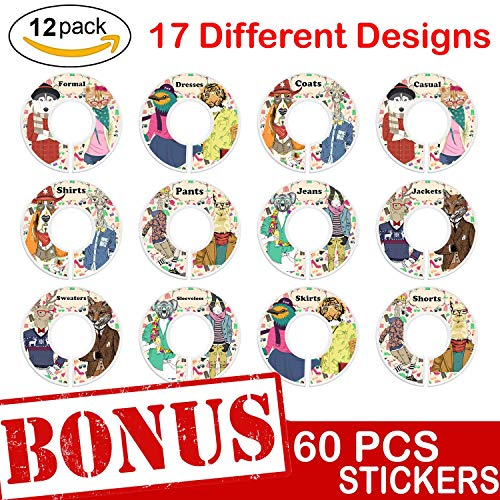 Closet Size Dividers 12 Pack - Clothing Organizer Rack Round Rod Seperator Hangers | Closet Dividers with 30 Double-Sided, 17 Design DIY Stickers with Cute Animal, Flower Themes | Baby,Nursery, -