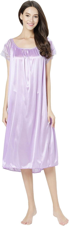 Chancen Womens Short Sleeve Lace Trim Satin Silky Long Nightgown Sleepwear Dress