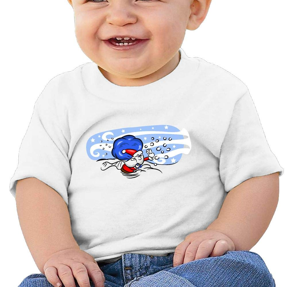 AiguanSanta Skiing Toddler//Infant Short Sleeve Cotton T Shirts White