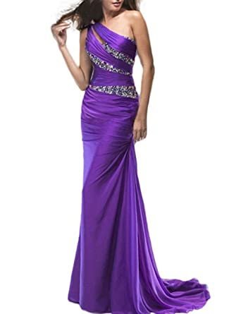 Anna Womens Purple Prom Dresses One Shoulder Mermaid Chiffon Evening Dresses at Amazon Womens Clothing store:
