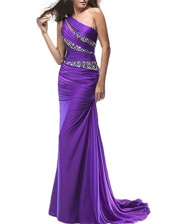 Anna Women\'s Purple Prom Dresses One Shoulder Mermaid Chiffon ...