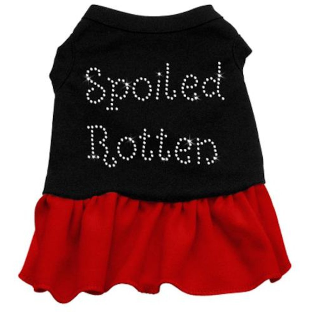 Mirage Pet Products 57-24 SMBKRD 10  Spoiled redten Rhinestone Dress Black with Red, Small