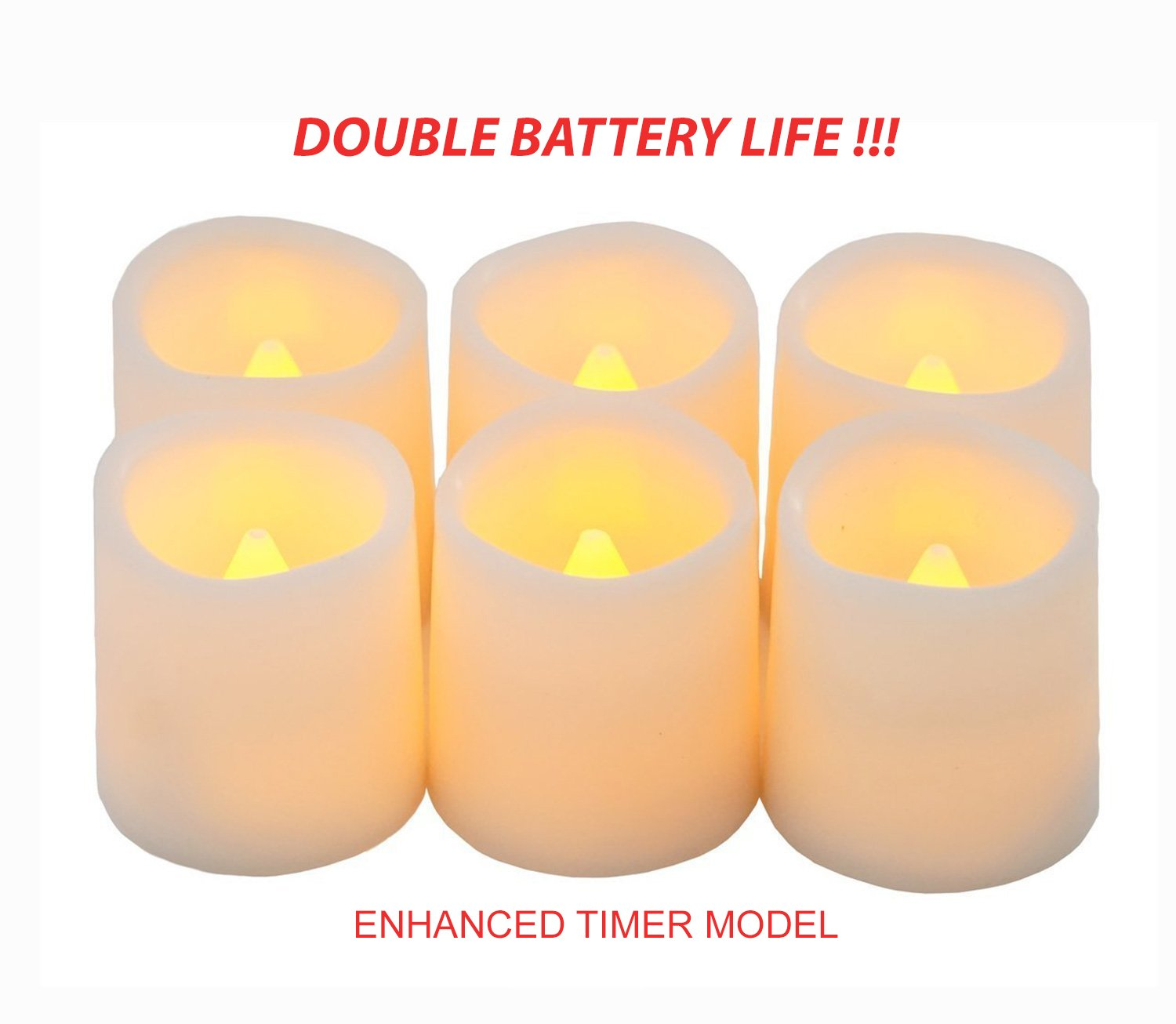 Festival Delights Timer Flameless Candles By Premium IC-controlled Soft Flickering Votive Battery Operated Candles, 150+ Hours of Lighting, 5H Timer, Battery included, Dia. 1.5''x1.75''H
