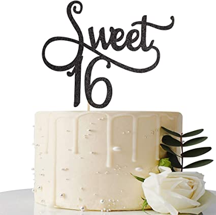 Happy 16th Birthday Party Decorations Supplies Black Glitter Sweet Sixteen Cake Topper INNORU Sweet 16 Cake Topper