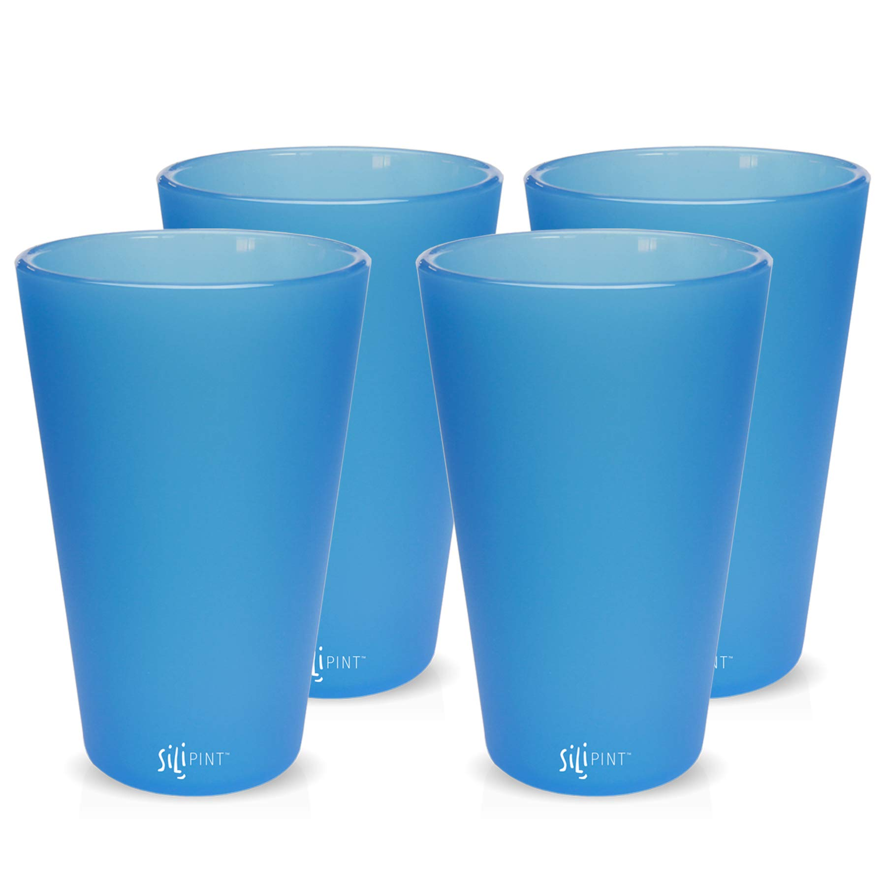 Silipint Silicone Pint Glass Set, Patented, BPA-Free, Shatter-proof, Unbreakable Silicone Cup Drinkware (4-Pack, Bend Blue) by Silipint