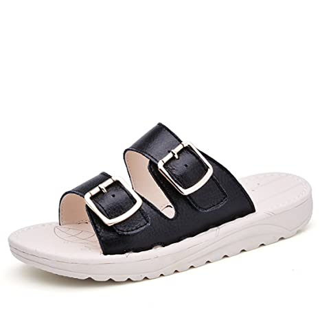 Women's Outdoor Leather Summer Beach Leather Casual Slippers 991