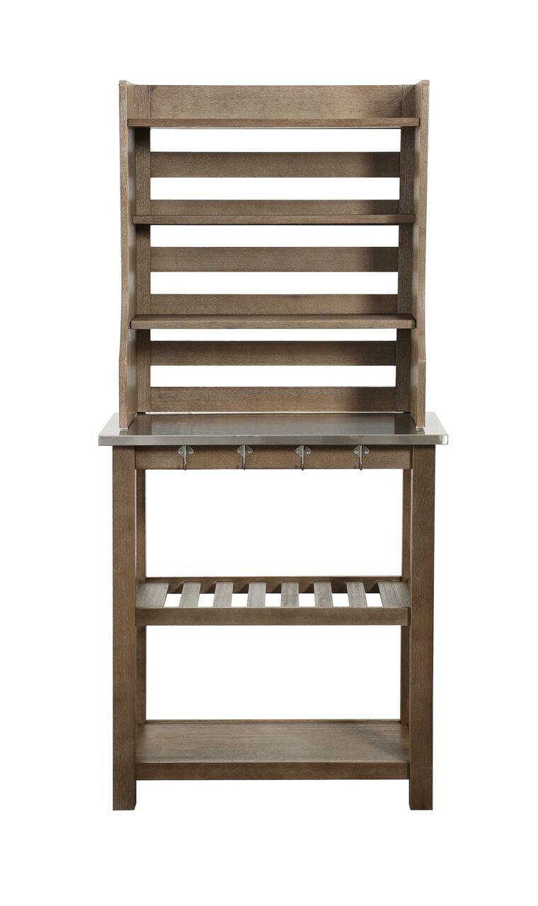 Boraam 12509 Wood & Stainless Steel Bakers Rack, One Size