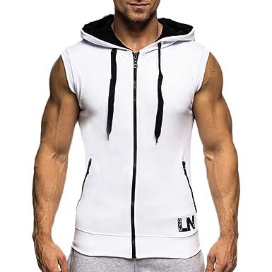 889a3479351d3 Bold Manner Pull à Capuche Hoodie Pullover T-Shirt sans Manches Sweat-Shirt  Homme