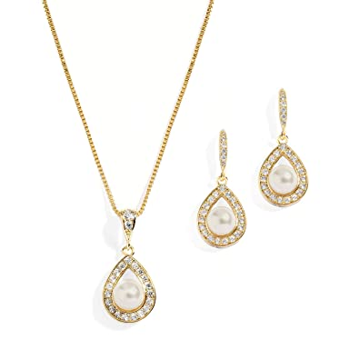 4ee3e5d6c Mariell Gold Wedding Necklace and Earrings Pearl Jewelry Set with CZ Frame  for Bridesmaids & Brides