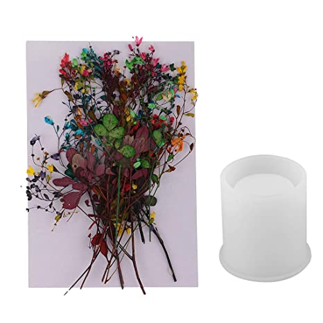 B Baosity 14 Sets Flores Secas Mixtas Naturales + Modelo de Silicona de Cepillo con Resina
