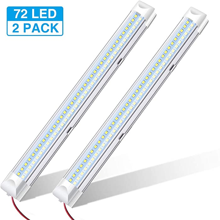 AUDEW LED 12V Interior LED Light Bar White Strip Light 340mm 12V 4.5W 72 LED Car Interior Light Strip for Van Bus Caravan with On / Off Switch (2 Pcs)