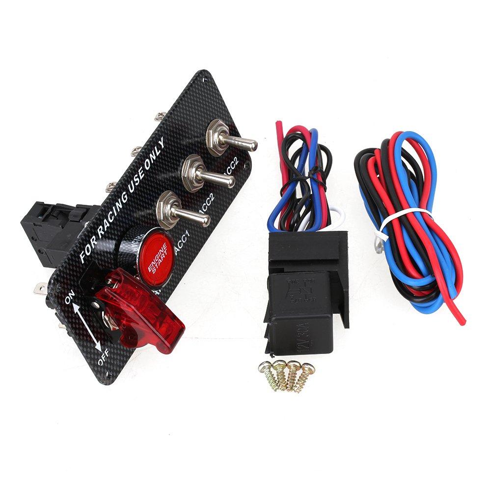 WEONE Interruptor de encendido DC12V 30A del panel LED de palanca de arranque del motor apretar la tecla de Carreras de coches JS-10610341
