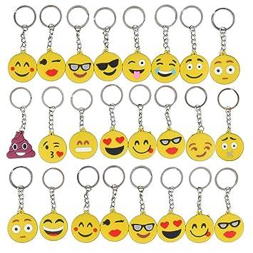 Gudotra 34 pcs Emoji Llavero Emoción para Niños Regalo de Juguete para los Niños Decoración de Bolsos Partido Decoraciones para Fiestas