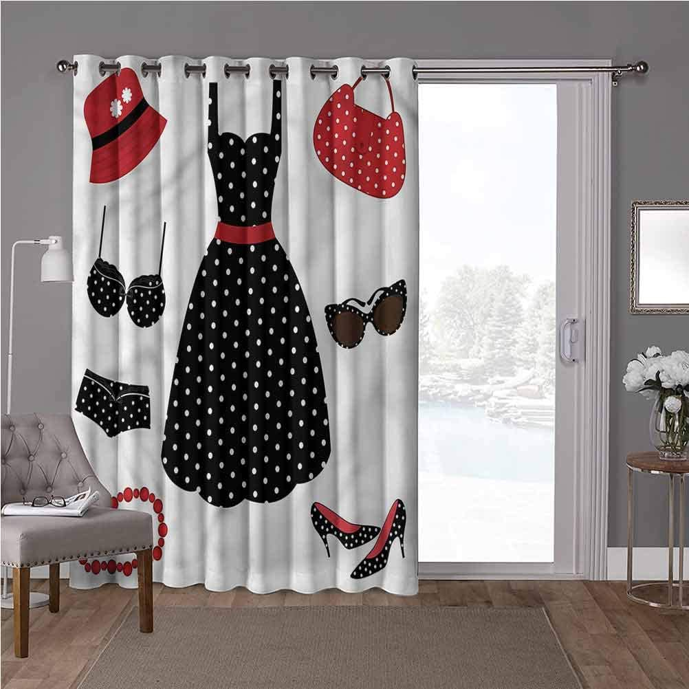 YUAZHOQI Thermal Insulated Room Divider Blackout Patio Curtains, 1950s,Fifties Style Female Fashion, W100 x L108 Inch Decorative Room Divider(1 Panel)