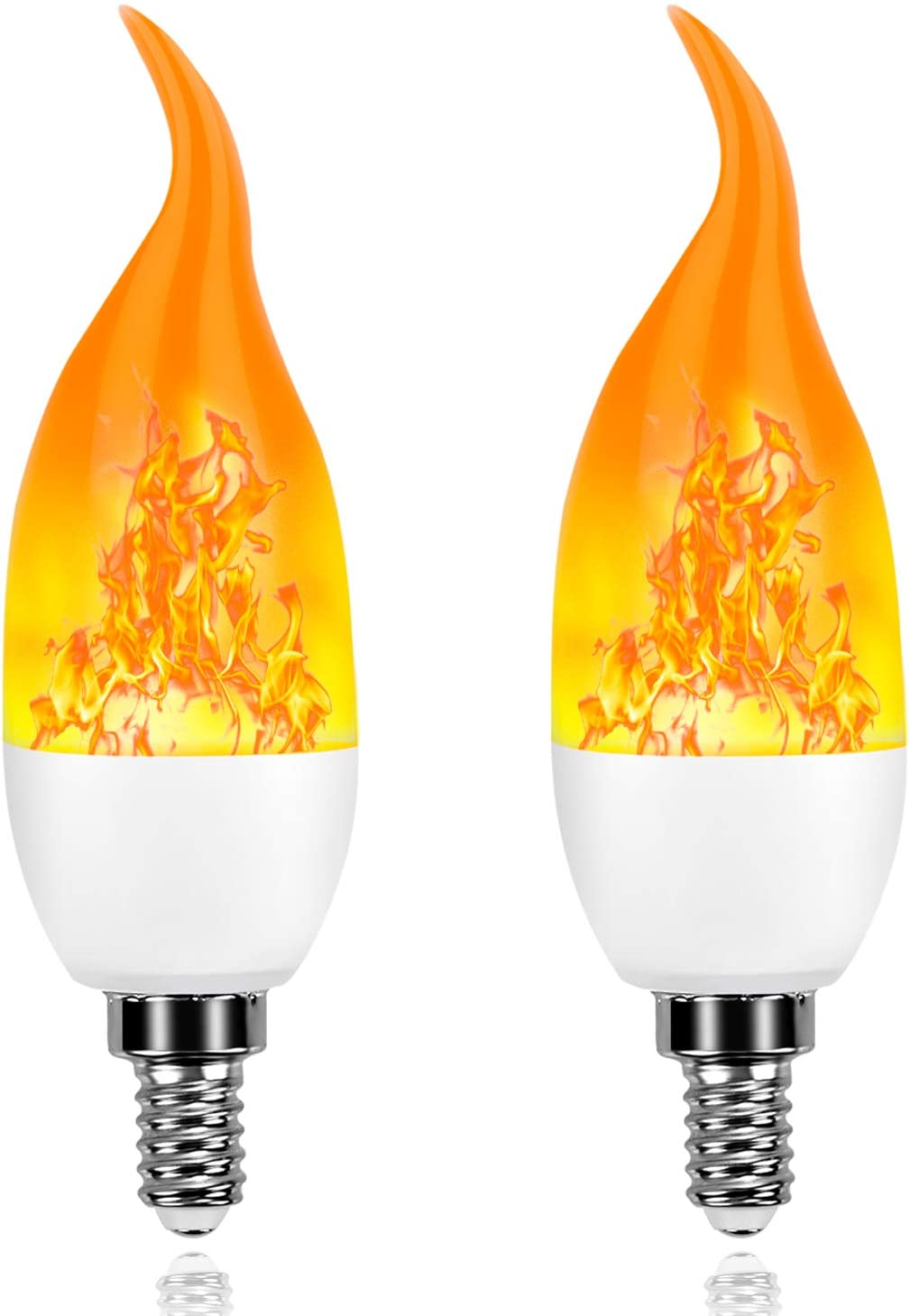 Artistic Home Xmas Decor Flame Light Bulbs - 2019 Upgrade 4 Modes Flame Effect Light Bulbs - E12 LED Flickering Candelabra Light Bulbs for Xmas/Indoor/Outdoor/Hotel/Party/Bar Decorations(2 Packs)