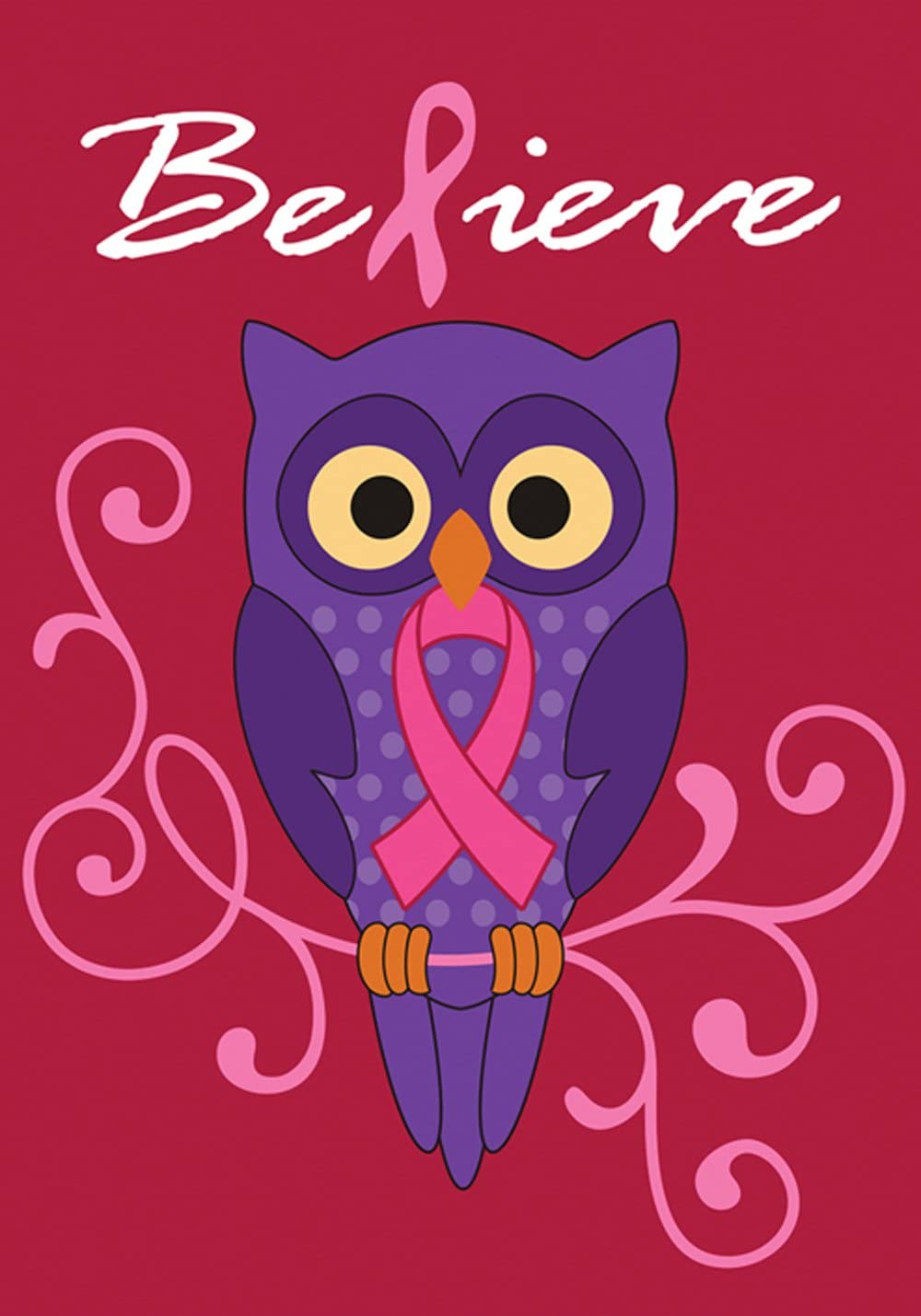 Toland Home Garden Believe 28 x 40 Inch Decorative Pink Breast Cancer Ribbon Support Owl House Flag