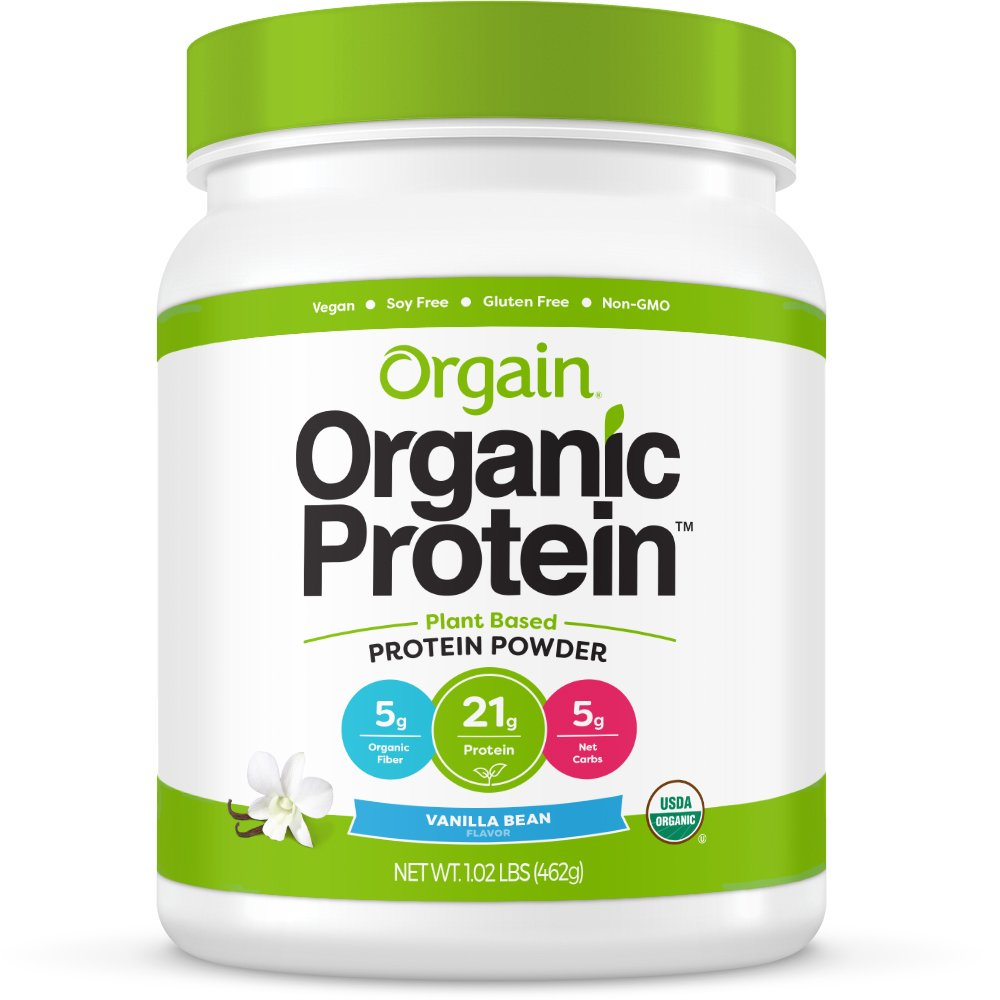 Orgain Organic Plant Based Protein Powder, Vanilla Bean - Vegan, Low Net Carbs, Non Dairy, Gluten Free, Lactose Free, No Sugar Added, Soy Free, Kosher, Non-GMO, 1.02 Pound by Orgain
