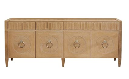 Amazoncom Global Views Light Oak Wood Silver Media Console Cabinet