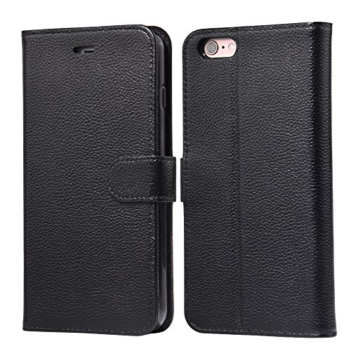 Cheap iPhone 6s Plus case, iPhone 6 Plus case, Arae [Genuine Leather] Top Layer Cowhide Wallet Case with Kickstand and Flip Cover for iPhone 6s Plus/iPhone 6 Plus – Black