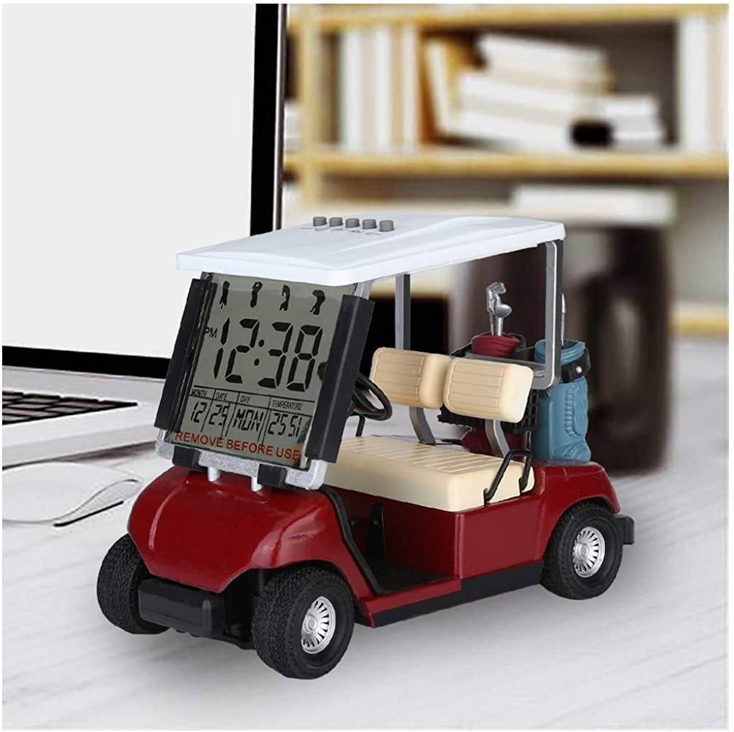 10L0L Mini Golf Cart Model Alarm Clock with LCD Display Time Date and Temperature, Digital Desktop Clock Battery Operated, Novelty Gift for Kids and Adults