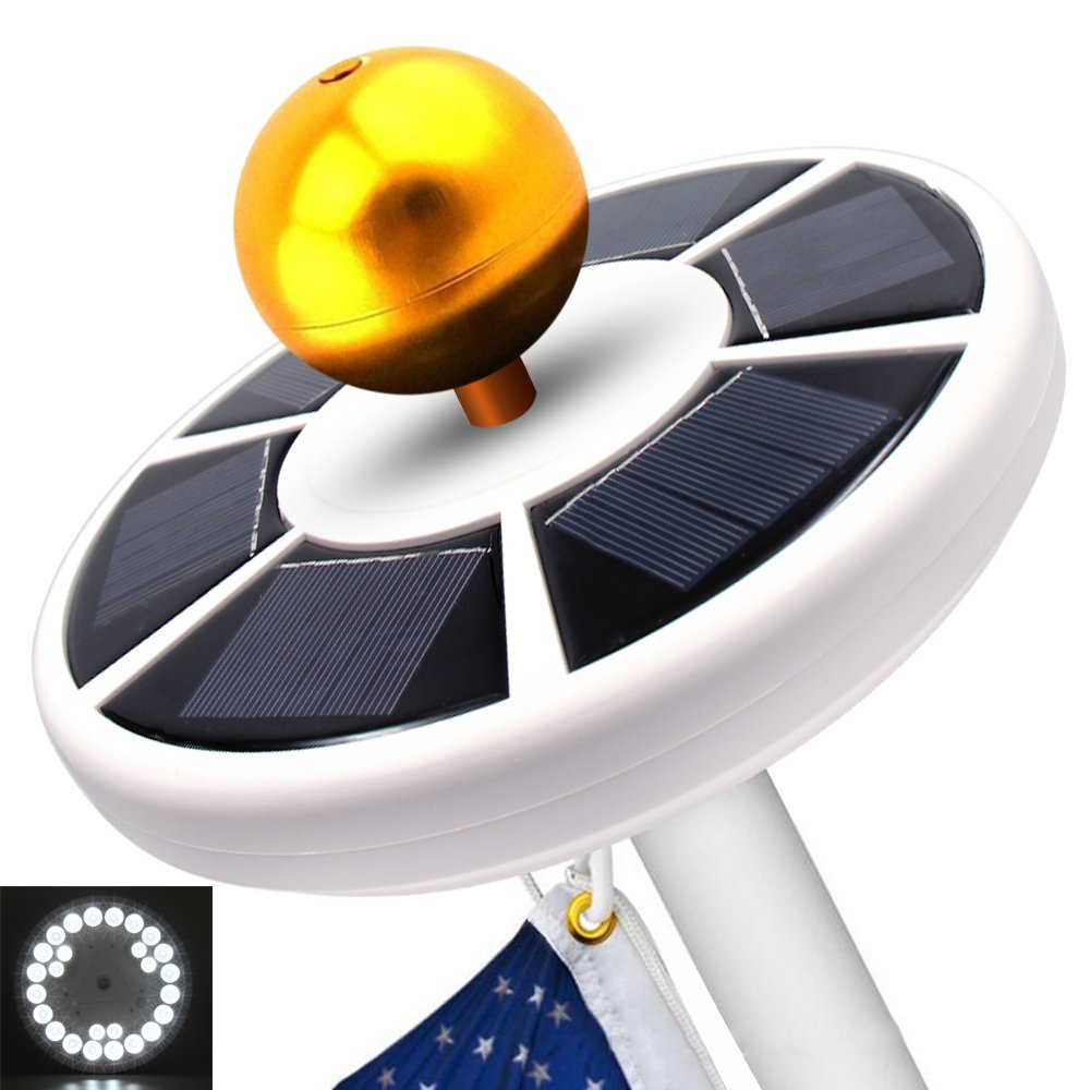 Solar Flag Pole Light,26 LED Weatherproof Flagpole,Downlight for Most 15 to 25 Ft Top Auto On/Off Night Lighting,Super Bright,Coverage with Latest Technology Eco-Friendly & Energy-Saving