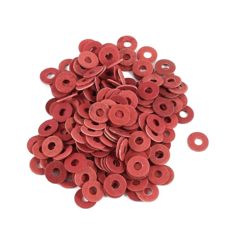 TOOGOO(R) 200 Pcs 3x8x0.7mm Insulated Fiber Insulating Washers Spacers Red