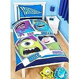 Disney Monsters University Childrens/Kids Frat Reversible Duvet / Quilt Cover Bedding Set (Single Bed) (Blue)