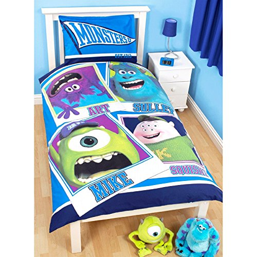 Disney Monsters University Childrens/Kids Frat Reversible Duvet / Quilt Cover Bedding Set (Twin Bed) (Blue) (Monster University Bed Set)