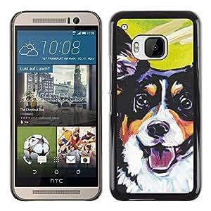 TopCaseStore / la caja del caucho duro de la cubierta de protección de la piel - Corgi Lancashire Heeler Art Black Dog - HTC One M9
