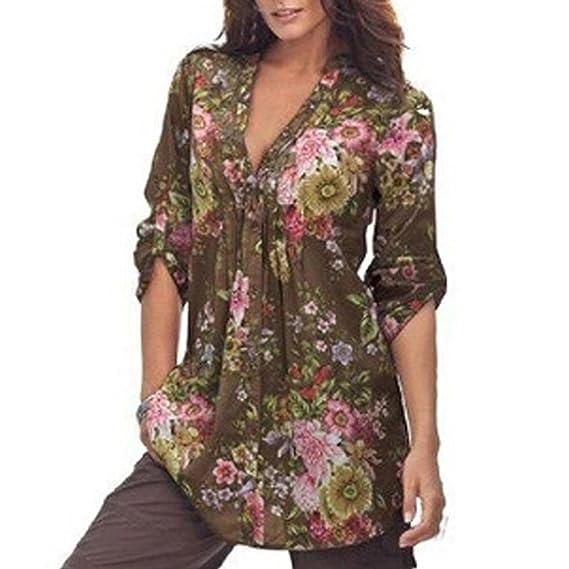 K-youth Camisas para Mujer, Túnica con Cuello en V de Estampado Floral Vintage