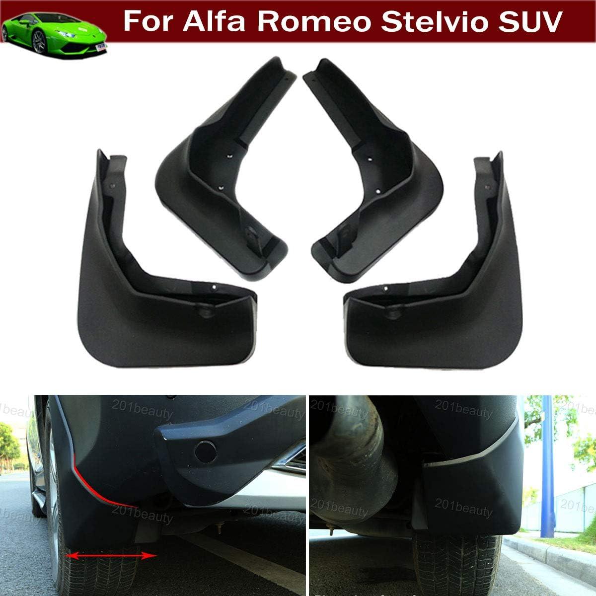 New 4pcs Black Color Front + Rear Car Mud Flaps Mudflaps Mud Guards Mudguard Splash Guard Fender Custom Fit for Alfa Romeo Stelvio SUV 2018 2019 2020