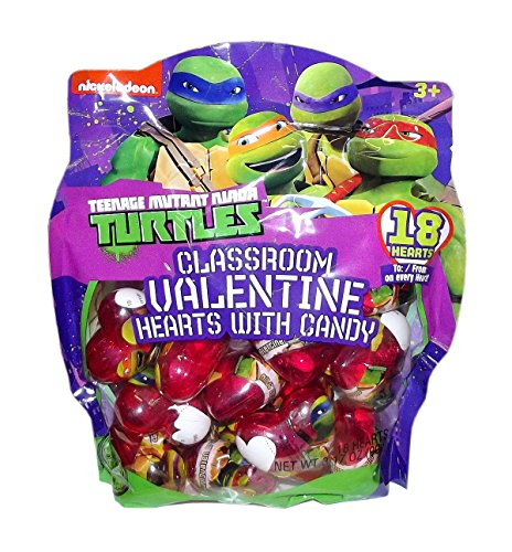 TEENAGE MUTANT NINJA TURTLES CLASSROOM VALENTINE HEARTS WITH CANDY 18 PACK (Ninja Turtle Valentine compare prices)