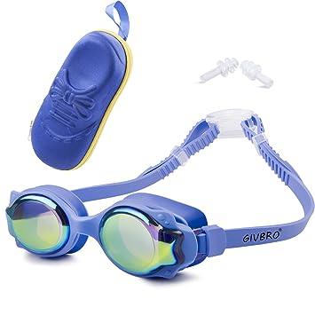 4461f143fead8 GIVBRO Schwimmbrille Kinder Anti-Beschlag 100% UV-Schutz- wasserdicht-  Unisex Kinderschwimmbrillen