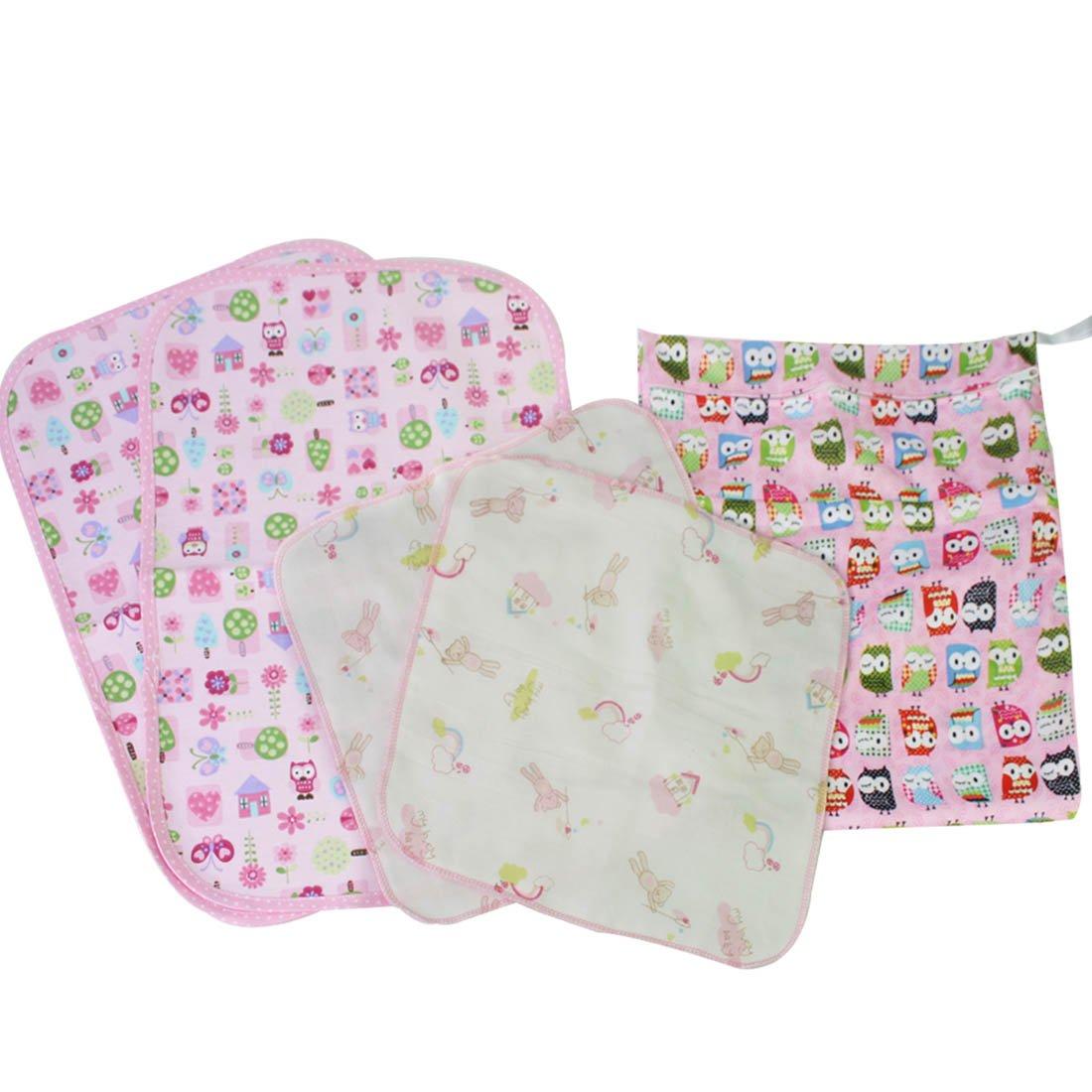 MyKazoe Baby Essentials Gift Set, Waterproof Wet Bag + 2 Waterproof Lap Pads + 2 Muslin Wipe Cloth - Set of 5 (Pink Owl) by MyKazoe