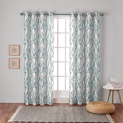 - Exclusive Home Curtains Branches Linen Blend Window Curtain Panel Pair with Grommet Top, 54x108, Teal, 2 Piece