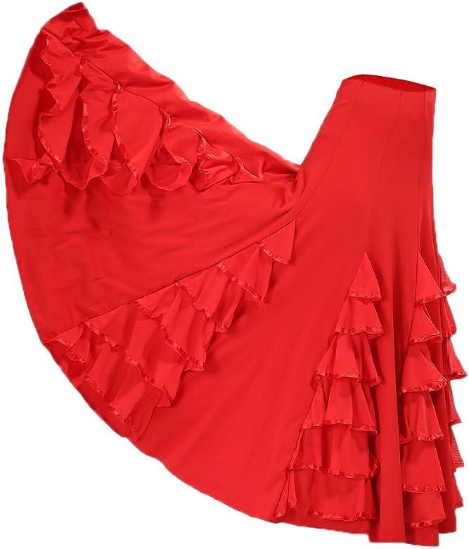 P Prettyia Falda Larga de Flamenco para Mujer Chica, Traje ...