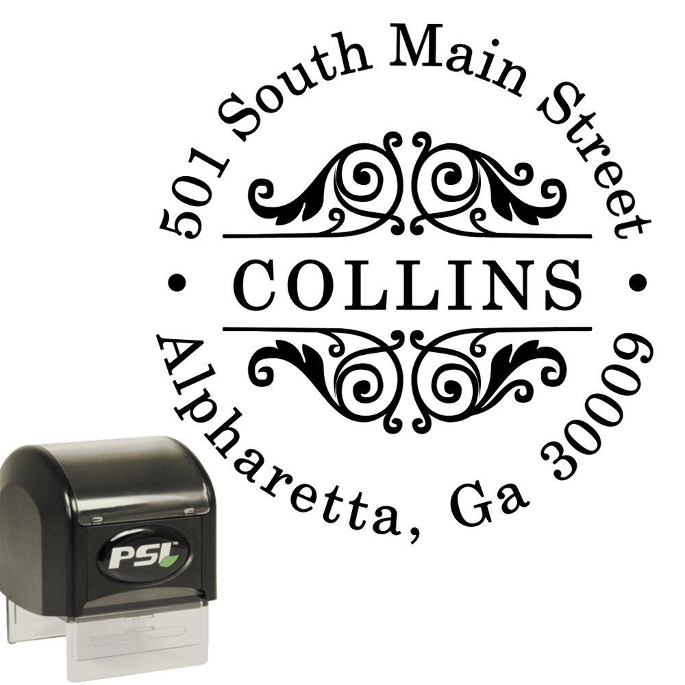 Custom Address Stamp - Self Inking - Round Circular Return Address Stamp - Black Ink by PrettySweetParty
