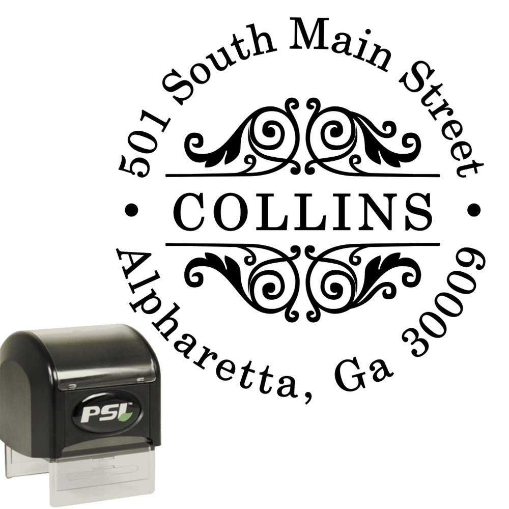 Custom Address Stamp - Self Inking - Round Circular Return Address Stamp - Black Ink