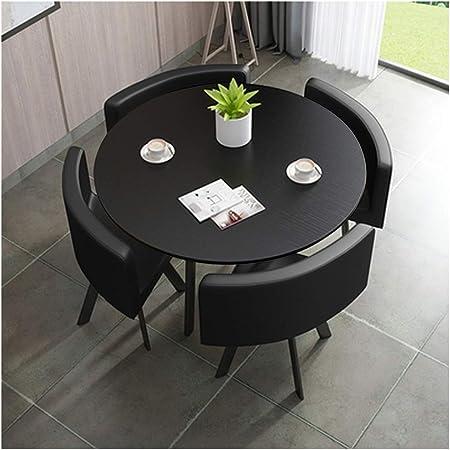 Mesa y silla de combinación moderna simplicidad 90 cm juego de comedor de mesa de piel sintética silla de cocina Balcón Café Hotel Corridor Business Cooperación/mesa cuadrada oficina muebles: Amazon.es: Hogar