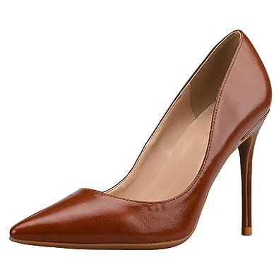 44eb0ed9d4c wealsex Escarpins Cuir Noir Marron Classique Talon Moyen Confort Bout  Pointu Sexy Chaussure Mode Simple Elégant