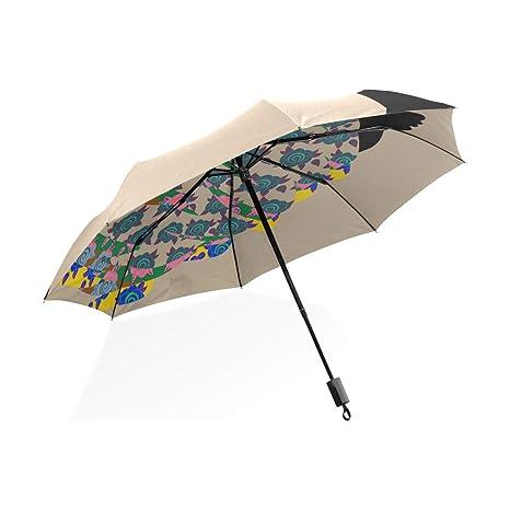 ISAOA Paraguas de Viaje automático Compacto Plegable Paraguas Rosas en la Cabeza Resistente al Viento Ultra